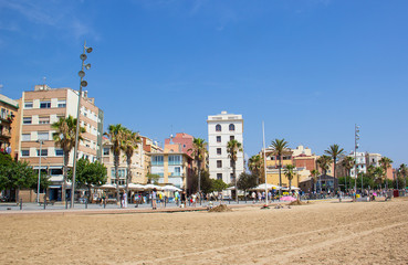 Barceloneta district near the famous beach, Barcelona, Spain