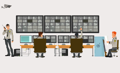 security room in which working professionals. surveillance cameras. Vector illustration in a flat style.