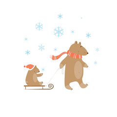 Winter card with  family of bears. A bear father and  bear cub on sledge.