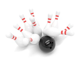 Bowling ball and scattered skittles