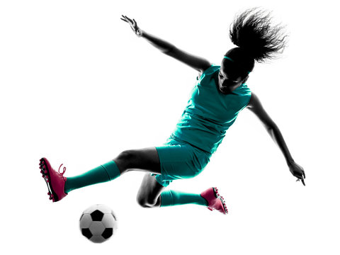 teenager girl child  soccer player isolated silhouette