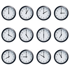 Clock set timed at each hour on white background