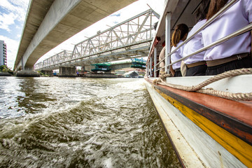 Tourism and travel in Bangkok by the Chao Phraya Express Boat.