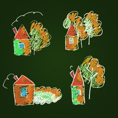 Set of colorful icons. Houses