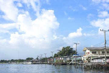 House river side chaopraya river Nonthaburi Thailand