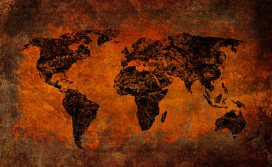 World map grunge cross vintage style