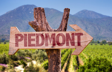 Piedmont wooden sign with winery background