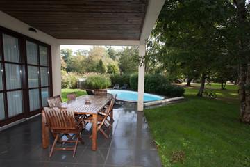 The swimming pool at luxury villa