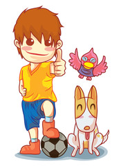 boy soccer and pet