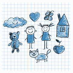 Set of colorful kids drawing style pictures