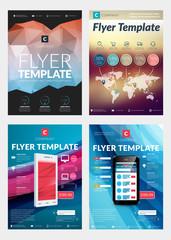 Set of Abstract Vector Business Flyer Brochure Design Templates