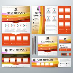 Set of Stationery Design Templates. Flyer, Booklet, Leaflet, Business Card, Banner