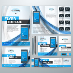 Set of Stationery Design Templates. Flyer, Booklet, Leaflet, Business Card, Banner