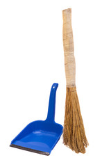 blue plastic dustpan and straw broomstick