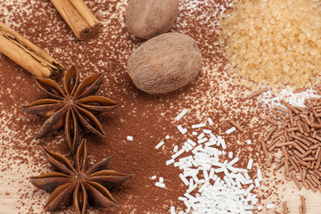 Assorted Sprinkles And Spices On Kitchen Board