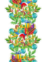 Christmas decoration elements, watercolor garland