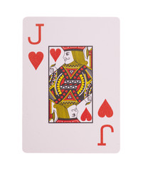Jack of hearts playing card on a white background