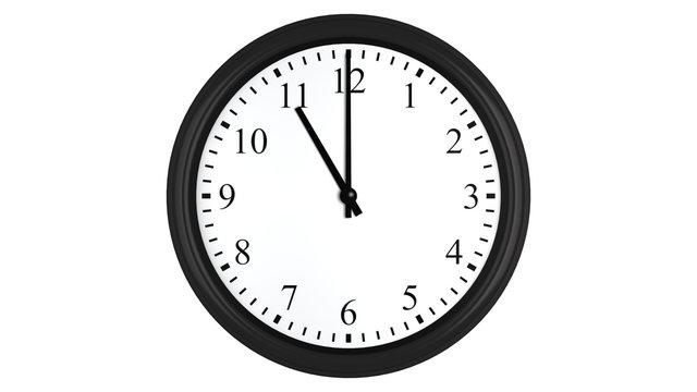 Realistic 3D clock set at 11 o'clock
