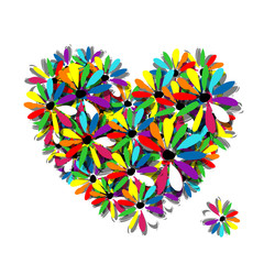 Colorful floral heart for your design