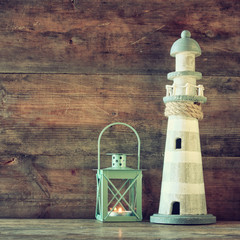 nautical lifestyle concept. old vintage lighthouse and lantern