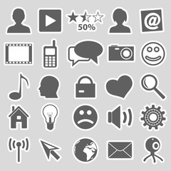 web and social networks set of stickers eps10