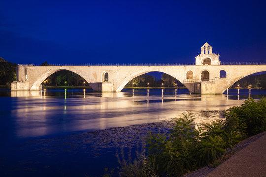 Bridge at river Rhone in Avignon by night