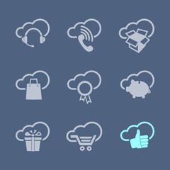 Internet and sale icons set