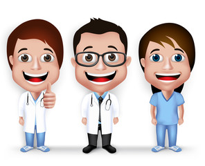 Collection Set of Realistic 3D Young Friendly Professional Doctor and Nurse