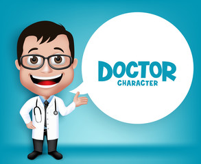 Realistic 3D Young Friendly Professional Doctor Medical Character Speaking Prescription