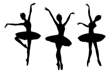 Ballerinas black silhouettes, isolated on white