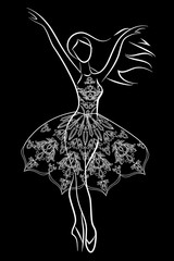 Girl in needlepoint dress on black background