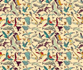 Birds seamless pattern wallpaper color