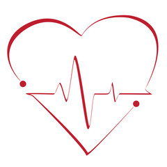Heart cardiogram with heart on it. Vector stylized symbol