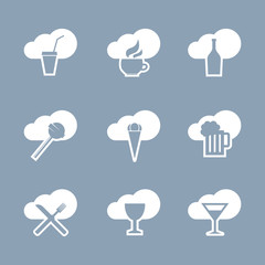Drinks and food icon set