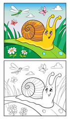 Coloring Page Cartoon Illustration of Funny Snail for Children.