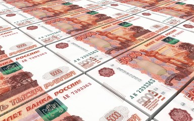 Russian ruble bills stacks background.