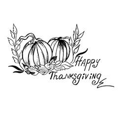 Thanksgiving, sketch, hand drawing, vector, illustration