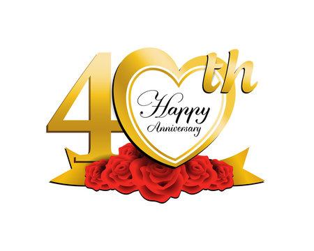 wedding anniversary logo heart 40