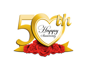 wedding anniversary logo heart 50