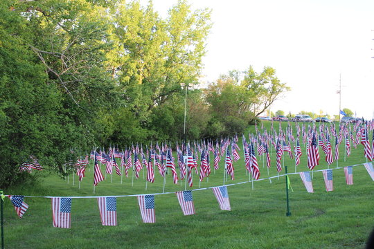 Memorial Day May 26, 2014 Field of Honor display. Each flag in the field represents a fallen American solider