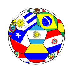 Football with South American Flags 2