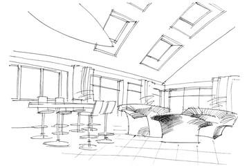 sketch interior of a public building