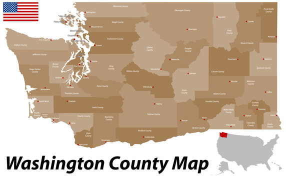 A large and detailed map of the State of Washington with all counties and county seats.