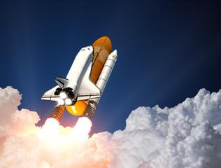 Fototapete - Space Shuttle Launch. 3D Scene.