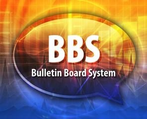 BBS acronym definition speech bubble illustration