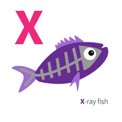 Letter X X-ray fish Zoo alphabet. English abc with animals Education cards for kids Isolated White background Flat design