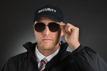 Security Guard Wearing Sun Glasses