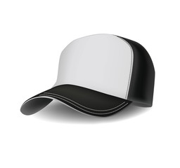 Isolated realistic сombined black and white sports baseball cap. Vector illustration