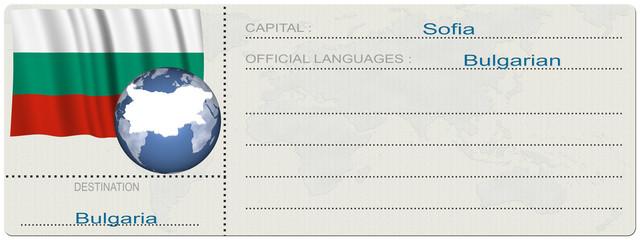 Biglietto Destinazione_Bulgaria Biglietto aereo, navale, crociera, con raffigurato il paese, la nazione di destinazione e la relativa bandiera nazionale.