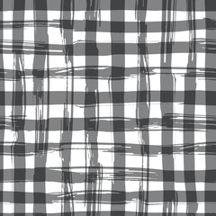 Vector seamless pattern with square hand drawn texture. Black